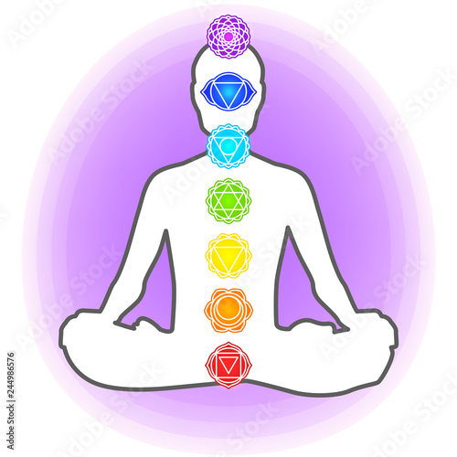 Silhouette Of Human Sitting In The Lotus Position Aura Meditation Yoga Trans Seven Chakras Buy This Stock Vector And Explore Similar Vectors At Adobe Stock Adobe Stock
