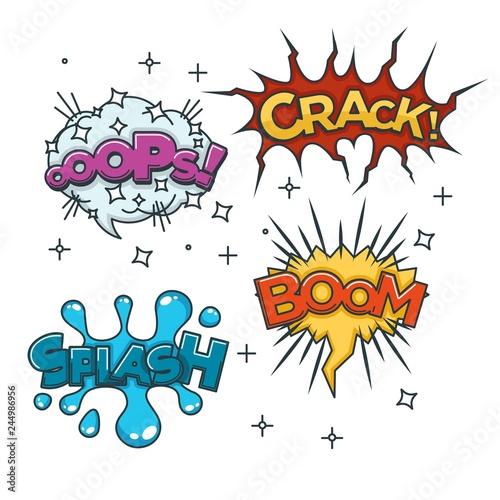 Printed kitchen splashbacks Fairytale World Boom, crash, bang and oh bubble sound blast clouds for cartoon