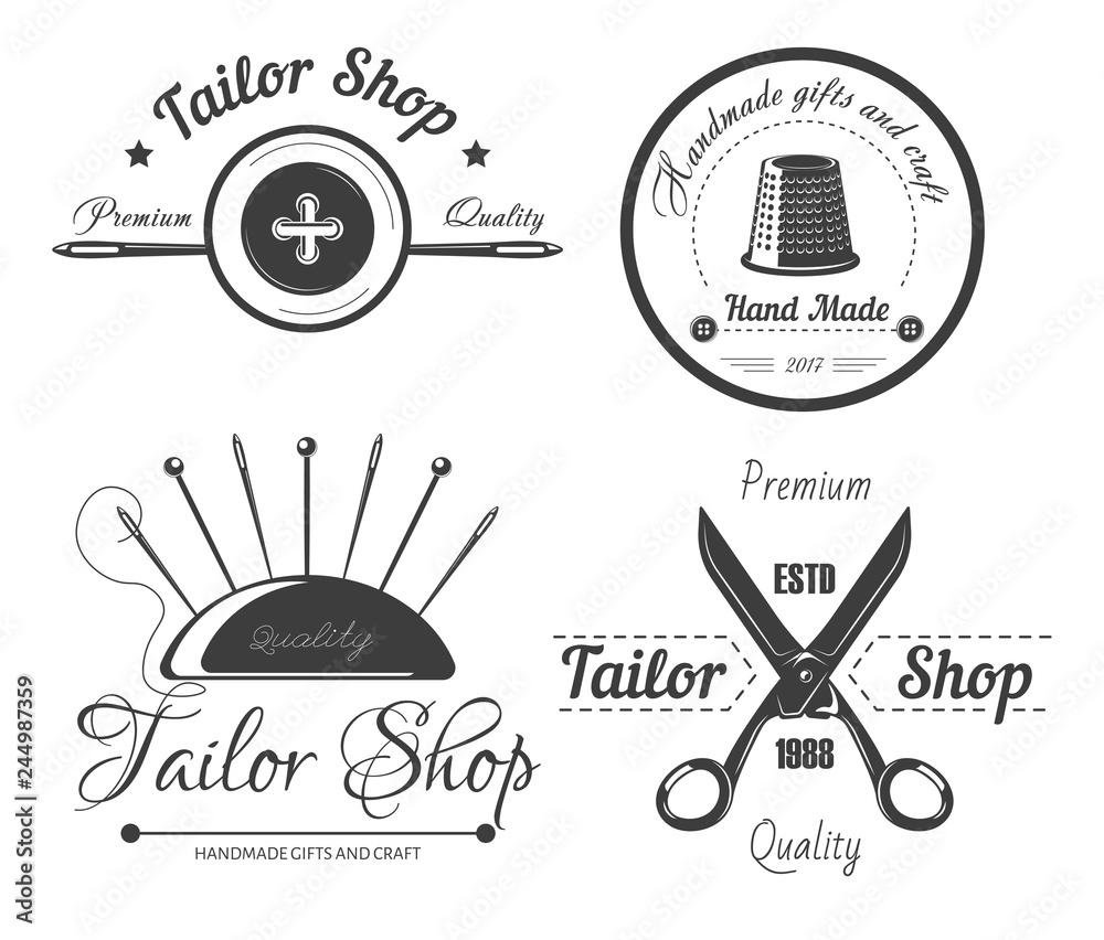 Tailor shop logo for dressmaker atelier and fashion dress ...