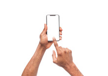 Male Hand Using Blank Touchscreen Of Smartphone