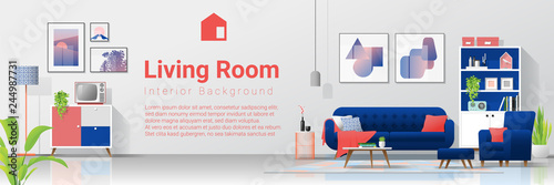 Fotomural  Interior background with colorful living room , vector , illustration