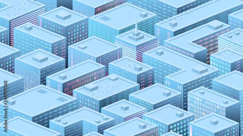 Isometric background with a populous city, metropolis, business, city life