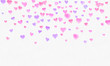 Heart shapes watercolor background. Romantic Confetti splash. Background with Heart Confetti. Falling red and pink paper hearts. Greeting wedding card. February 14. illustration.