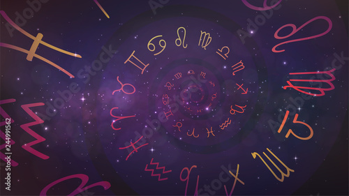 Tableau sur Toile Background with spiral symbols of the zodiac signs in space