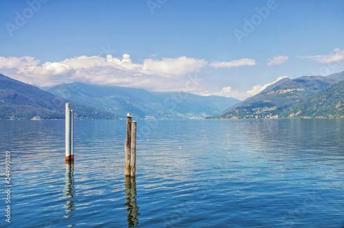 Obraz na plátně  Luino am Lago Maggiore in Norditalien - Luino on Lago Maggiore in northern Italy