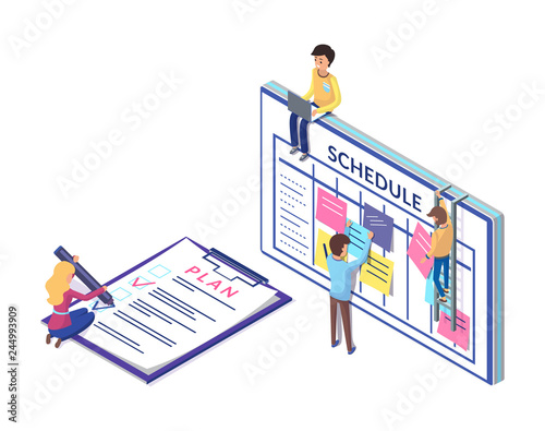 Photo Schedule Planning on Clipboard, Business  Strategy