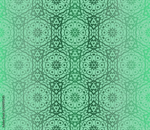 Poster Artificiel Green Color Seamless Lace Pattern With Abstract Geometric Flower. Stylish Fashion Design Background For Invitation Card. Vector Illustration.