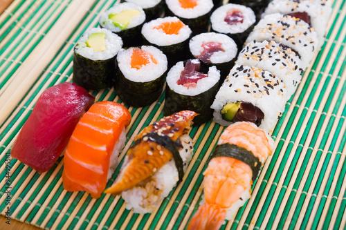 Printed kitchen splashbacks Sushi bar Sushi set in restaurant
