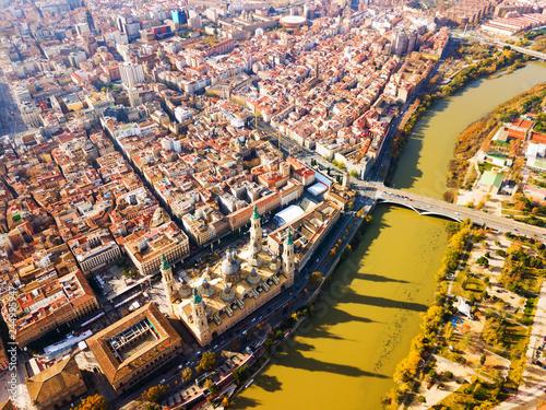 Aerial view of Zaragoza cityscape