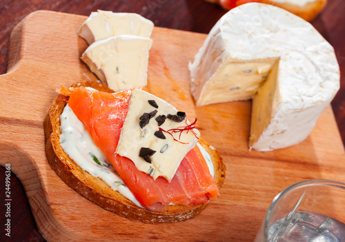 Canape with cambozola cheese and salmon