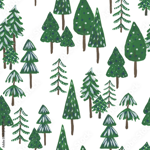 Goache painting christmas seamless pattern with fir trees  on white background, Children's drawing. Baby wallpaper