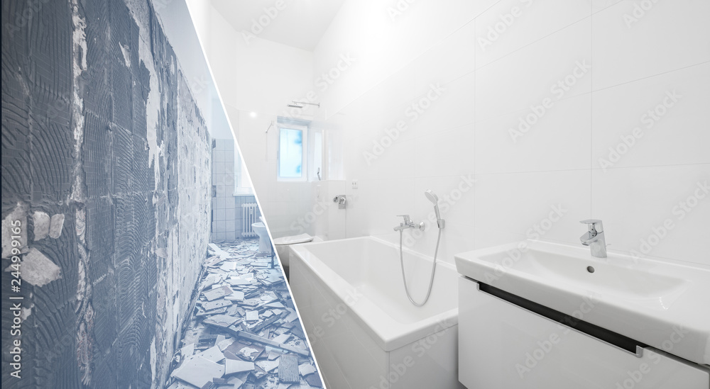 Fototapeta bathroom renovation - old and new bathroom  -