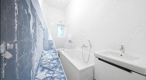 Tableau sur Toile bathroom renovation - old and new bathroom  -