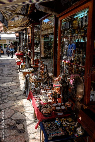 Deurstickers Illustratie Parijs Kazandžiluk Street - the ancient coppersmith market in Sarajevo - a souvenir hunter's heaven.
