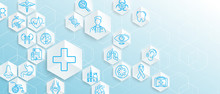Medical Icons With Geometric Hexagons Shape Medicine And Science Concept Background