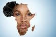 canvas print picture - Face of African woman inside the map of Africa