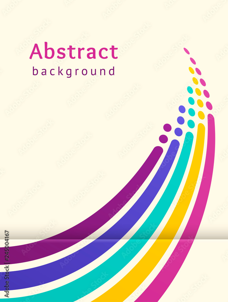 Fototapety, obrazy: Colored stripes with circles over light background. Retro vector backdrop. Design template. Abstract lines directed upwards. Trendy color scheme