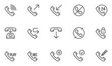 Phone Line Icons Set. Telephon...
