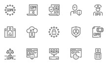 GDPR Line Icons Set. General Data Protection Regulation, Data Protection Officer, DPO. Collection, Processing, Storage And Deletion Of Personal Data. Editable Stroke. 48x48 Pixel Perfect.