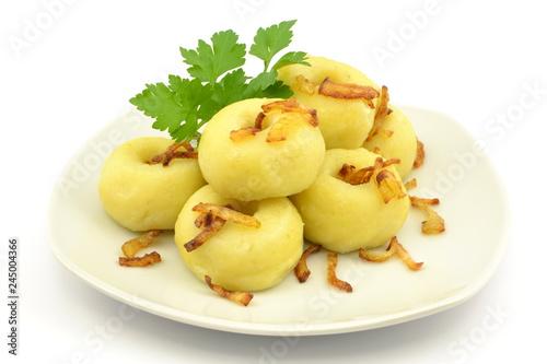 kluski śląskie z podsmażoną cebulą