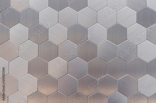 Obraz na plátně Metal mosaic tiles in a modern interior.