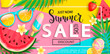 Summer sale banner with symbols for summertime such as ice cream, watermelon,strawberries,sunglasses.Vector illustration of discount template card, wallpaper, flyer,invitation, poster,brochure,voucher