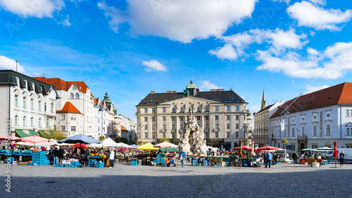 BRNO, CZECH REPUBLIC – OCT 31, 2018: Zelný trh or Zelňák square with Parnas Fountain in the old town of Brno - Moravia, Czech Republic