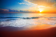 canvas print picture - sunset and sea