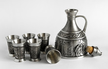 Pewter Decanter And Glasses