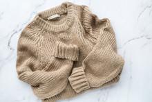 Female Beige Knitted Sweater O...
