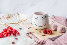 Cup Of Freshly Brewed Fruit And Herbal Tea, Fresh Raspberry, Cookies, Book, Clothes. Photo For Fashion, Lifestyle And Food Blogs, Content