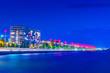 canvas print picture - Night view of seaside promenade in Thessaloniki, Greece