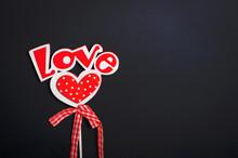 Love Heart - Valentine's Day On Black Background