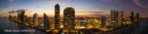 Fotografie, Obraz  Twilight aeril panorama highrise beachfront buildings South Florida USA