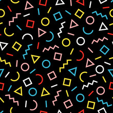 Seamless Pattern Of Colorful Geometric Shapes, Sprinkle, Squiggle.