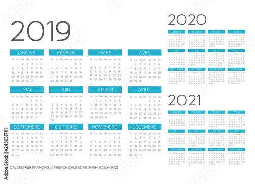 Vászonkép  French Calendar 2019-2020-2021 vector
