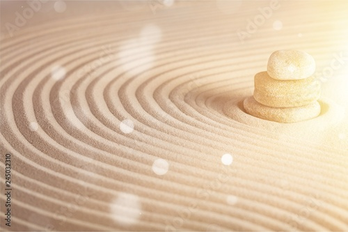 Poster de jardin Zen pierres a sable Zen stones in the sand. Background