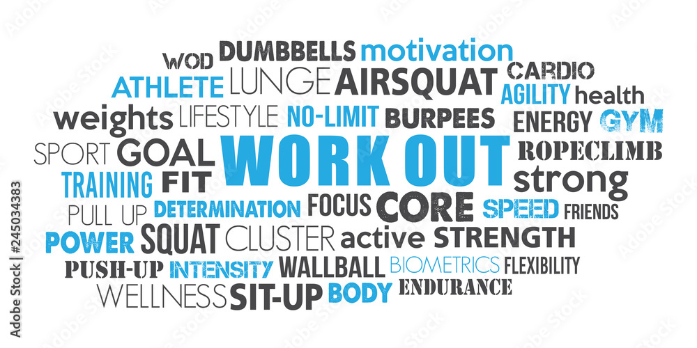 Fototapeta Workout sport word cloud concept text is outline blue and dark greyconcept text is outline