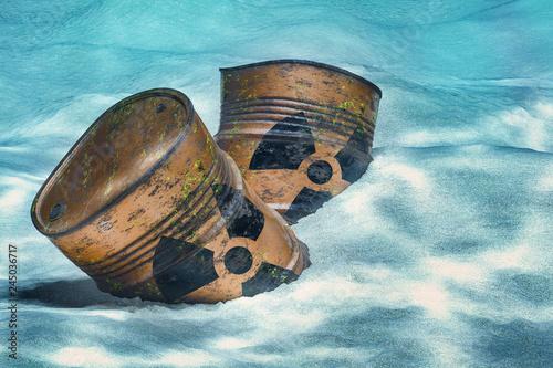 Barrels with radioactive waste on ocean bottom underwater Canvas Print