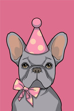 Birthday Girl Gray French Bulldog Dog With Pink Party Hat And Ribbon Graphic Vector Illustration