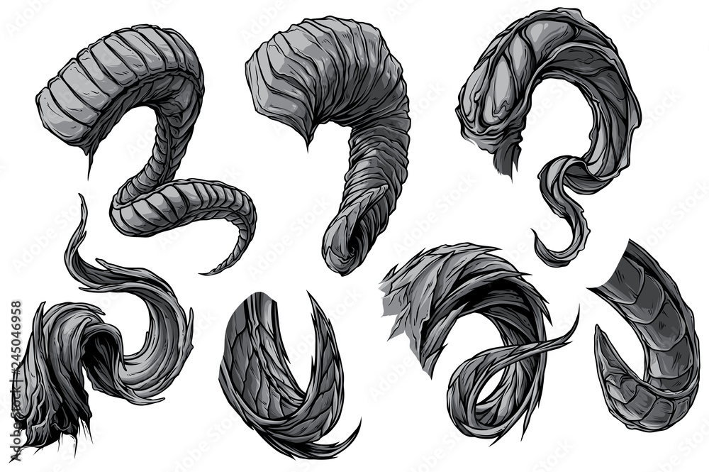 Fototapeta Cartoon graphic detailed big sharp spiral animal horns or antlers. Hunting trophy. Isolated on white background. Vector icon set.