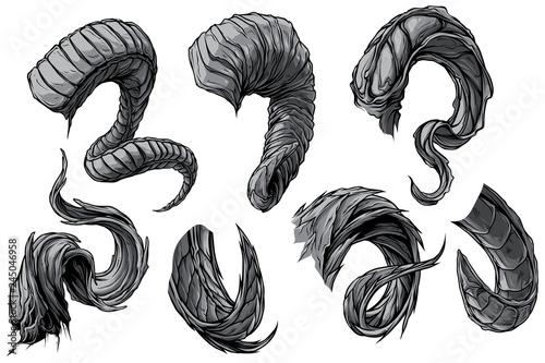 Obraz na plátne Cartoon graphic detailed big sharp spiral animal horns or antlers