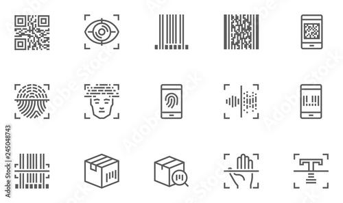 Identification, Recognition Vector Line Icons Set Canvas Print