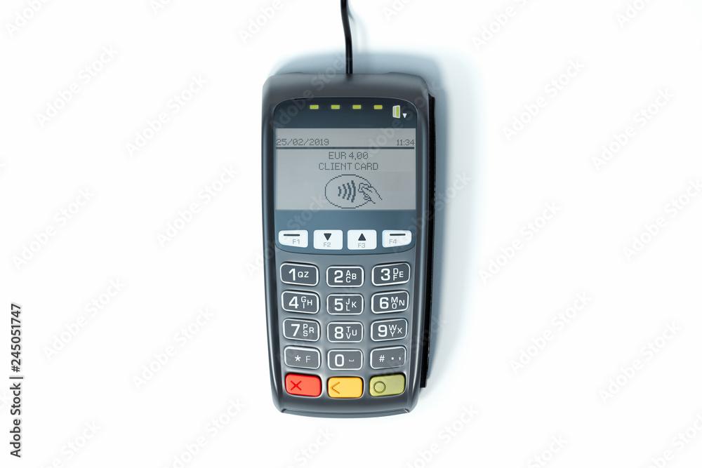 Fototapeta POS payment terminal. NFC payments concept. 3d rendering.
