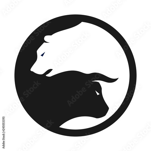 Photo bull and bear vector logo