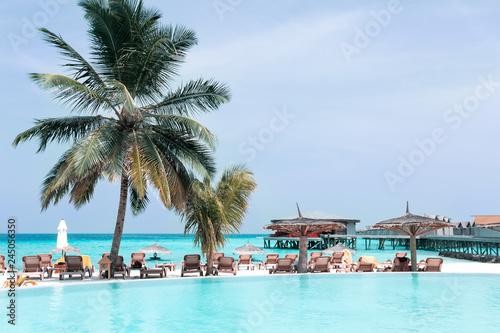 Foto auf Gartenposter Stadt am Wasser Exotic getaway for luxury vacations, travel destinations card