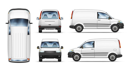 Set of realistic vector illustrations of mini van from different view.
