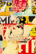 Collage Ripped Torn Advertisement Street Posters Grunge Creased Crumpled Paper Texture Background Placard Backdrop Surface