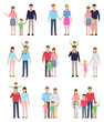Set of family groups with kids. Various happy family members. Flat design vector illustration