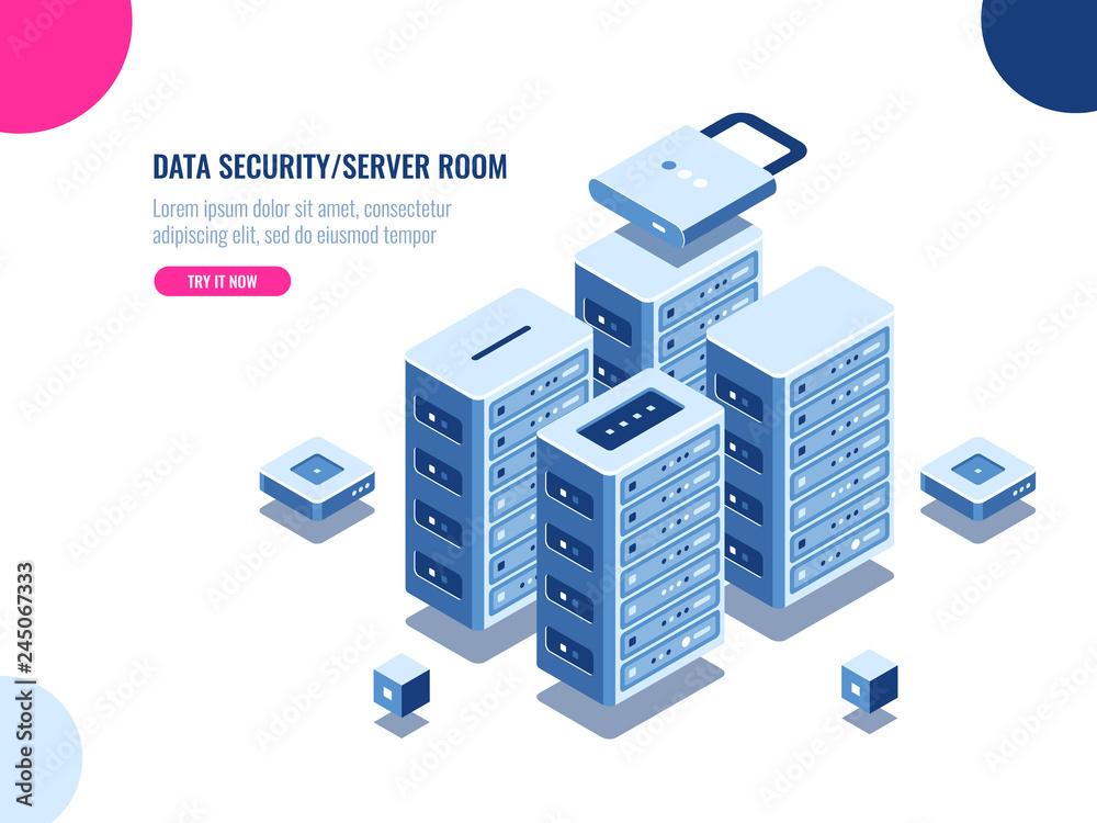 Fototapeta Server room cabinet, data center and database isometric icon, server rack farm, blockchain technology, web hosting, data security, cloud storage, personal data protection, flat vector